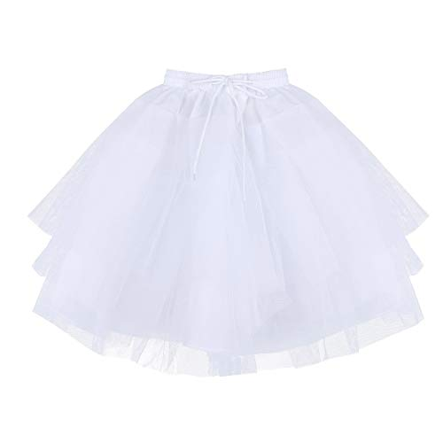 ,Freebily Kids Girls 3 Layers Net Petticoat Underskirt Crinoline Slip for Flower Girls Wedding Dress White One -