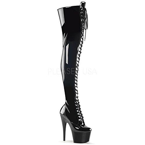 Black 3023 Str Black Up Platform Boot Women Platform Thigh High Pleaser Stretch Front ADORE Patent Lace w5xTnO7q