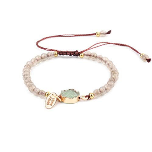 Dont Beaded Worry Bracelet - Artilady Shinning wrap Clasp Bangle for Women (Beige Beaded)