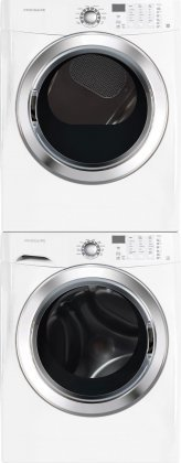 Frigidaire White Front Load Laundry Pair with FFFS5115PW 27″ Washer FFSG5115PW 27″ Gas Dryer and STACKIT4X Stacking