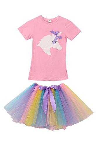 Short Ruffle Sleeve Unicorn Print Tee T-Shirt Top for Little Girl Pink 5 L 201463 by Aki_Dress