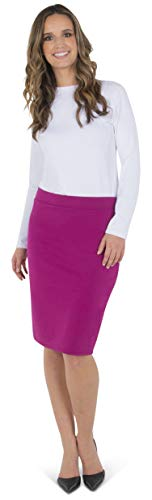 Women's Pencil Skirt Midi Premium Nylon Stretch Fit Fuschia ()