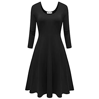 Malist Women Flared Midi Dress 3/4 Sleeves Dress Round Neck Simple Casual Skirt