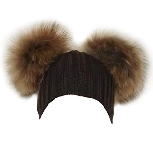 (Raccoon Fur Pompom Hat Fur Poms Womens Wool Knit Beanie Bobble Ski Cap)