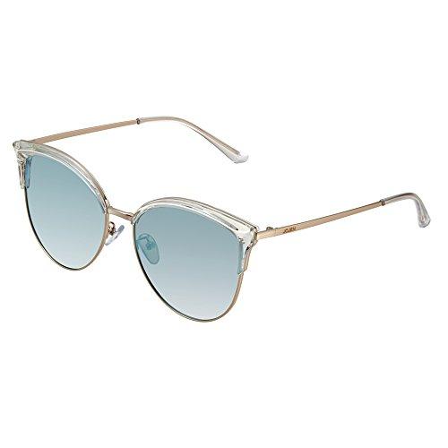 JOJEN Semi Rimless Cateye Polarized Sunglasses for Women Metal&TR90 Frame JE015(Transparent Frame Blue Lens)