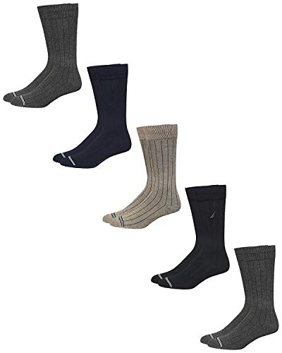 'Nautica Men's Solid Dress Socks with Moisture Control Wicking (5 Pack), Assorted, Shoe Size: 6-12.5'