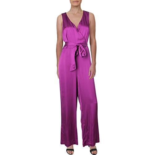 Lauren Ralph Lauren Womens Petites Charmeuse Sleeveless Jumpsuit Purple 10P