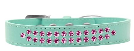 Mirage Pet Products Two Row Bright Pink Crystal Aqua Dog Collar, Size 16 by Mirage Pet Products