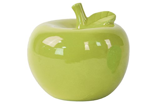 Ceramic Red Apple - Urban Trends Ceramic Apple Figurine, Large, Gloss Green