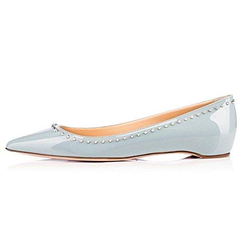 Vernice di donne fondo piatto rivettato sottolineato mano-balletto scarpe blu , 38 BLUE-37