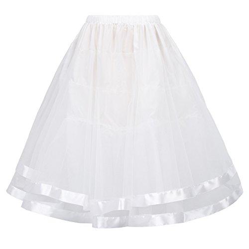 Belle Poque Mini Underskirt for Dance with Satin Ribbon Hemline(XL,White)