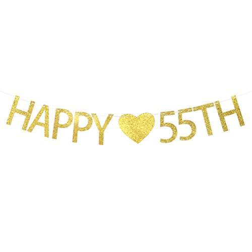 Happy 55th Birthday Banner – 55th Wedding Anniversary Party Decorations Sign
