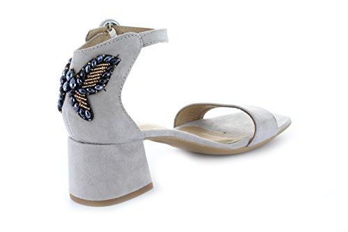 ALPE Alpe3697 Damen Sandale Schmetterling-Applikation Aus Strass-Steinen Blockabsatz Velour Grau