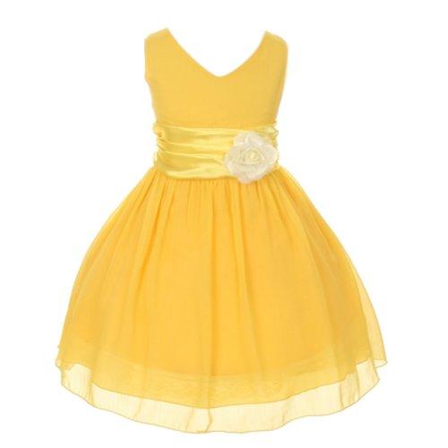 Chiffon Double V Neck Wedding Flower Girl Dress, Made in USA (12, yellow)