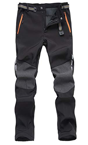 Mens Pants,Outdoor Windproof Water Resistant Softshell Fleece Ski Hiking Insulated Pants Black ()