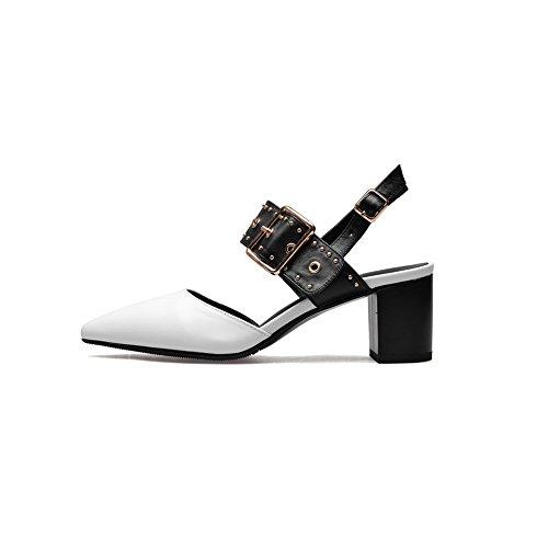 Uretaani Kumi kantapää Kylmä Nastoitettu Valkoinen Pumput Hihna Suljettu Korkea Naisten Säädettävä Tie Kengät Nupukista toe Adeesu Vuori Slc03509 Pumput Solki kengät OazxwwBq