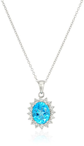 Platinum Plated Sterling Silver Swarovski Paraiba Blue and White Topaz Pendant Necklace, 16 2 Extender