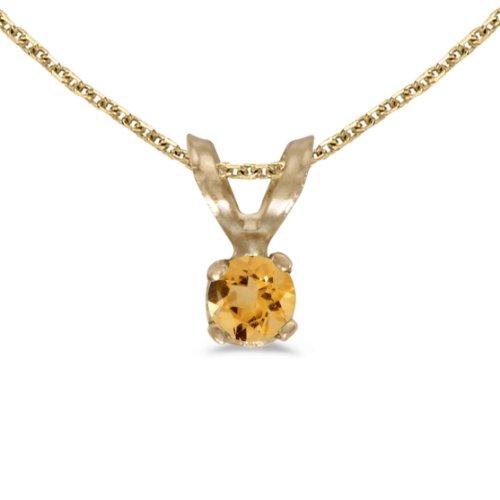 Jewels By Lux 14k Yellow Gold Genuine Birthstone Round Citrine Pendant (0.08 Cttw.)