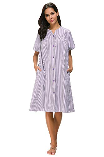- M-anxiu Lounge Dress Women's Short Sleeve Housecoats and Dusters (Purple,M)