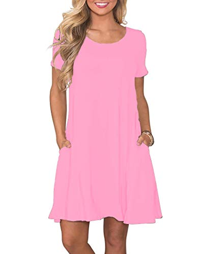 WNEEDU Women's Summer Casual T Shirt Dresses Short Sleeve Swing Dress with Pockets (XL, Pink)