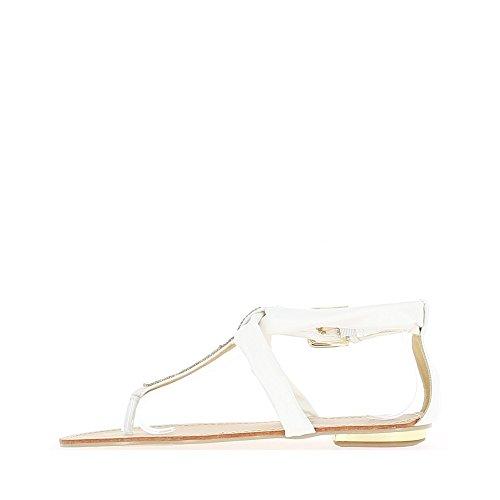 Nu-pieds blancs à grosse boucle dorée