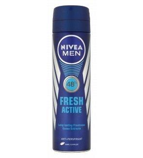 Nivea for Men Spray Deodorant, Fresh Active, 150 ml (Pack of 3) (Deo Fresh Spray)