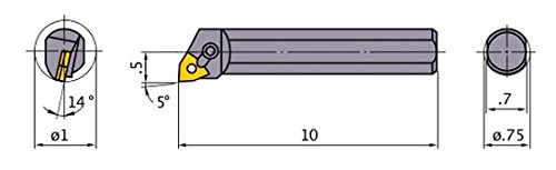 Right 0.750 Shank Dia 95/° Cutting Angle Mitsubishi Materials S-MWLNR-123 Multiple Clamp Boring Bar with 0.375 IC Trigon Insert Steel Shank 1.000 Minimum Cutting Dia.