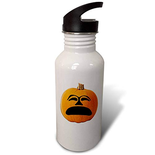 3dRose Sandy Mertens Halloween Food Designs - Jack o Lantern Unhappy Sad Face Halloween Pumpkin, 3drsmm - Flip Straw 21oz Water Bottle (wb_290216_2) -