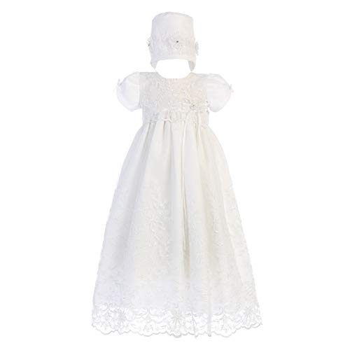 Lito Baby Girls White Embroidered Tulle Sofia Gown Bonnet Christening Set 12-18M
