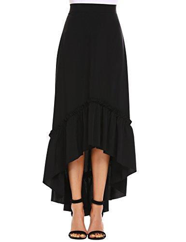 Zeagoo Women's Burgundy/Black Bowknot High Waist Hi-lo Party Skater Skirt by Zeagoo