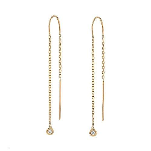 TousiAttar Diamond Dangle Earrings -14k Yellow Gold - Cute Drop Earring Gift Jewelry for Women and Girls Every Day