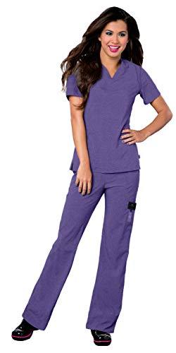 Landau Smitten Women's Scrub Set Bundle - S101002 Rock Goddess V-Neck Top & S201002 Hottie Cargo Drawstring Flare Leg Pants & Marc Stevens Badge Reel (Heather Violet - Medium/Medium Tall) -