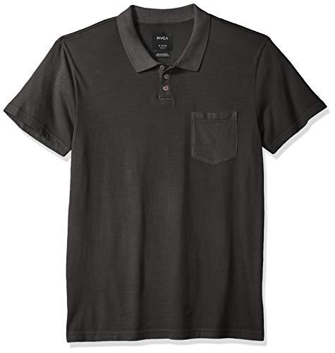 (RVCA Men's PTC Pigment Short Sleeve Polo Shirt, Pirate Black, XXL)