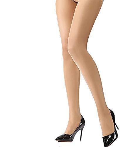 HONENNA Women's Semi Sheer Opaque Tights Reinforced Toe Panty Hose Control Top Hosiery (B, Nude)