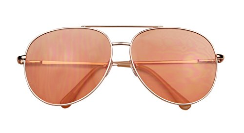ShadyVEU - Modern Metal Frame Double Brow Bar Flat Color Tint Lens Sunglasses 55mm (Rose Gold Frame / Peach Lens, - Orange Tinted Aviators