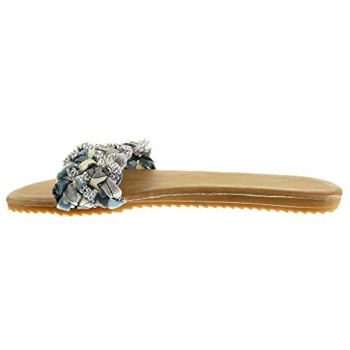 5 Sandalias 1 CM Zapatillas Angkorly trenzado Chanclas strass tanga de Gris tacón Talón plano mujer Moda 6OtwOr7