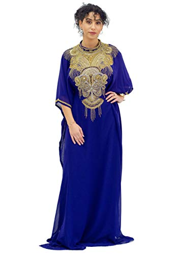 Elhan Gold Beaded Kaftan for Women ¾ Sleeve Maxi -with Belt - Chiffon Free Size(Royal Purple)