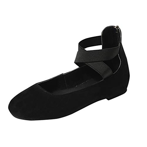Women's Elastic Crossing Straps Classic Ballerina Flats Shoes Comfortable Casual Slip-On Loafers Black -