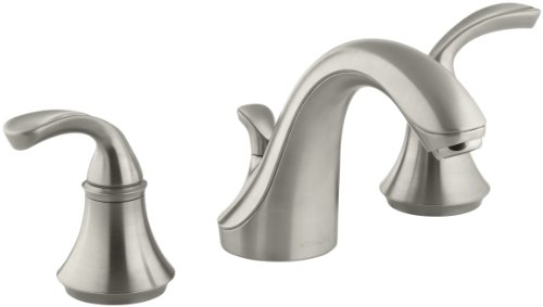 (KOHLER Forte Sculpted K-10272-4-BN 2-Handle Widespread Bathroom Faucet with Metal Drain Assembly in Brushed Nickel)