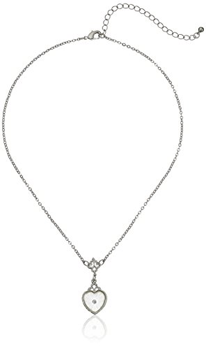 Downton Abbey Carded Silver-Tone Lalique Inspired Heart-Shaped Pendant Necklace, 16