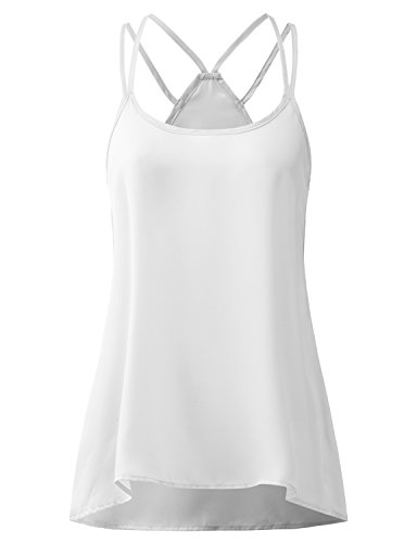 Price comparison product image Regna X BOHO for womans cami sheer cover ups white 2xl plus size big chiffon blouse sleeveless camisole top