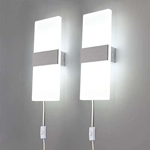ed46e9c6b721 Lightess Up Down Wall Lights Plug-in 6W LED Sconce Lighting Modern Acrylic  Wall Lamp