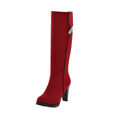 High Imitated Heels Women's Suede Boots top Toe Closed Red Solid Round WeiPoot High pRIFwTFqA