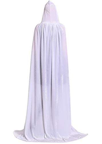 ALIZIWAY Hooded Cloak Full Long Velvet Cape for Halloween Cosplay Costume Cloak White -