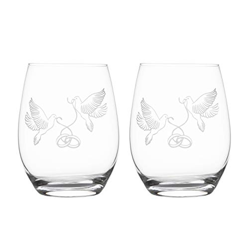 (Rosato Bay Crystal Wine Glasses-Set of 2 Stemless-Etched Doves Holding Rings-Perfect Bridal Shower, Engagement, Anniversary, Wedding Gifts for the Couple, Best Gift for Bride to Be, Her, Men,)