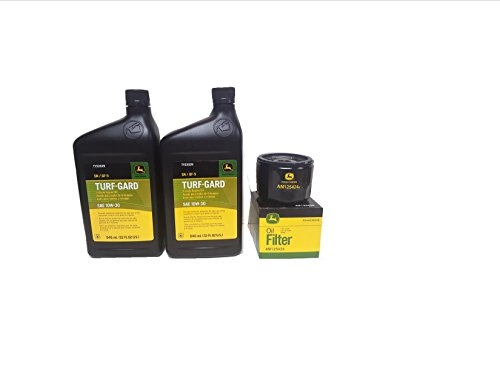 2 Quarts John Deere Turf-Gard SAE 10W-30 Oil Plus AM125424 Filter. Fits Many Lawn Mowers - Check Description