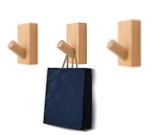 Astra Gourmet Wall Mounted Wooden Coat Hook Hat Hanger Key Holder Single Hooks(Beech Wood, 3 Pack)
