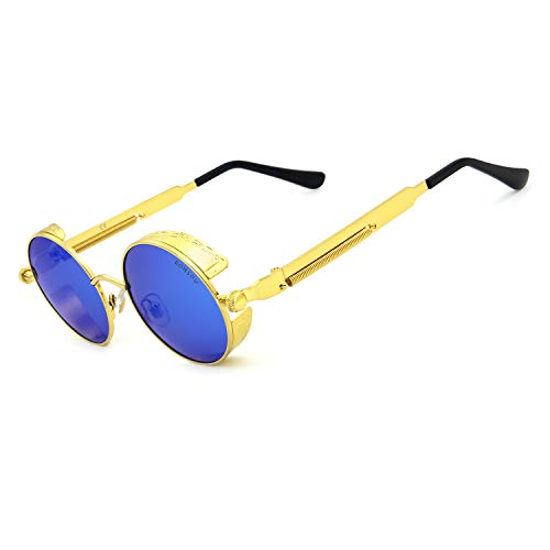 - Ronsou Steampunk Style Round Vintage Polarized Sunglasses Retro Eyewear UV400 Protection Matel Frame golden frame/blue lens