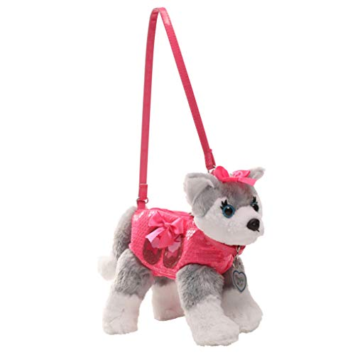 Poochie Poochie and Co. Girls Plush Handbag- Huskey with Pink Sequins and Balet Slippers Glitter Applique
