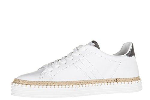 Hogan Rebel chaussures baskets sneakers femme en cuir rebel r260 blanc